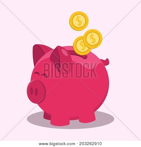 Money savings with piggy design, vector illustration in a flat design. The concept of saving or save money. Vector Illustration