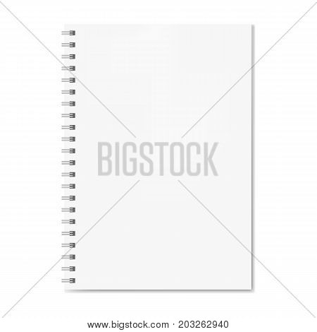 Realistic spiral notebook mockup, copybook blank cover. Clear note book front page ore clean page with shadow