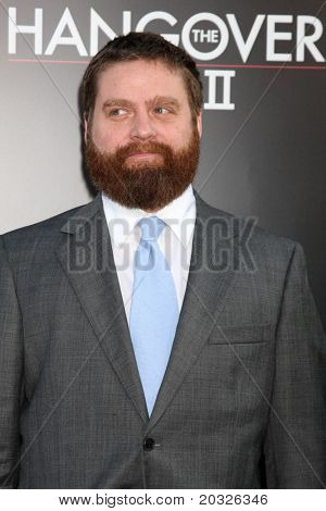 """LOS ANGELES - MAY 19:  Zach Galifianakis arriving at the """"The Hangover Part II""""  Premiere at Grauman's Chinese Theater on May 19, 2011 in Los Angeles, CA"""