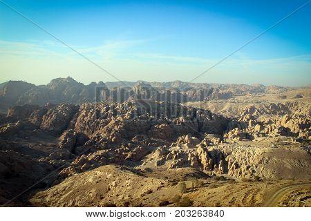 Panorama of hilly desert near Petra, Jordan