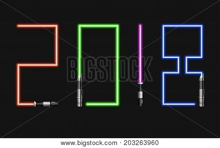 Vector modern concept 2018 happy new year and light swords on black background