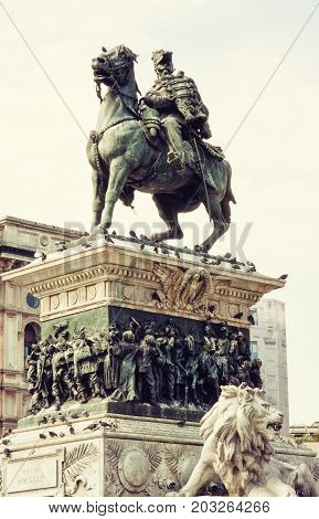 Equestrian statue of Vittorio Emanuele II in Milan city Italy. Cultural heritage. Photo filter.