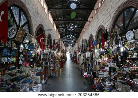 CANAKKALE TURKEY - JULY 02 2017: Aynali Carsi is one of the most populer bazaar in Canakkale city. Bazaar was built in 1890.