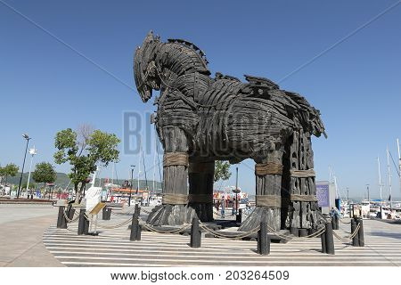 CANAKKALE TURKEY - JULY 02 2017: Trojan Horse in Canakkale City. Horse used in movie troy and on display in Canakkale city.