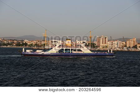 CANAKKALE TURKEY - JULY 02 2017: Ferry carry passengers between Asian side to European side of Canakkale city.