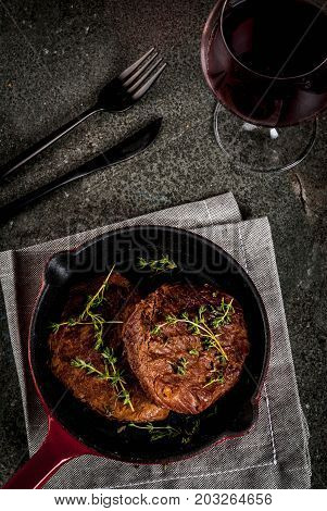 Grilled Beef Steaks And Wine