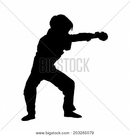 Black silhouette of little male karate fighter