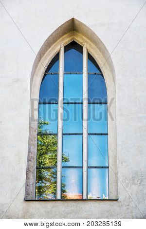 Old window with reflections Spilberk castle Brno southern Moravia Czech republic. Architectural element.