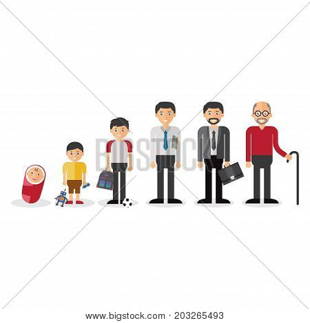 Different generations european men isolated set vector illustration.