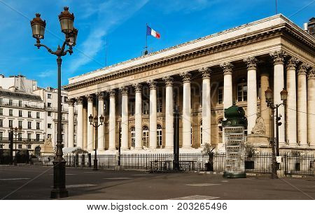 The Bourse of Paris located in Brongniart palace.It is an essential flagship monument on Paris historic landscape.It was built by the architect Brongniart at the behest of Napoleon Bonoparte. poster