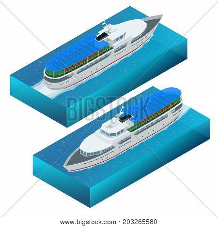 Isometric set of a pleasure boat. Flat vector illustration of pleasure boat tourist yacht to travel by sea transport. poster