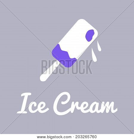 Vector logo template for stall with ice cream. Illustration of an Eskimo on stick. Can be used for menu restaurant cafe bar ice-cream shop or store. EPS10.