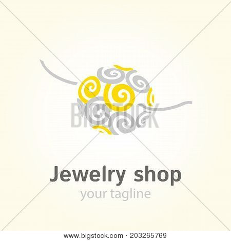 Vector logo template for jewelry shop or store. Bead with ether symbol in yellow and gray colors. EPS10. Jewel icon. Simple and modern logotype.