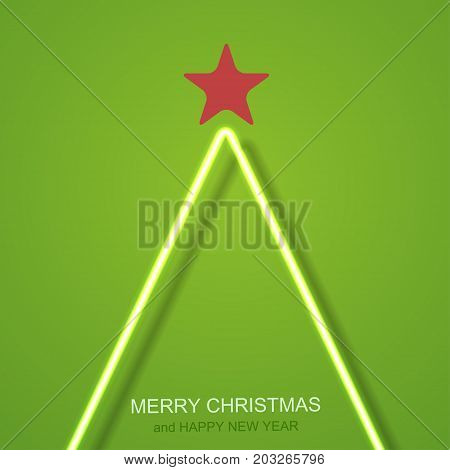 vector modern neon Christmas tree background. Eps10