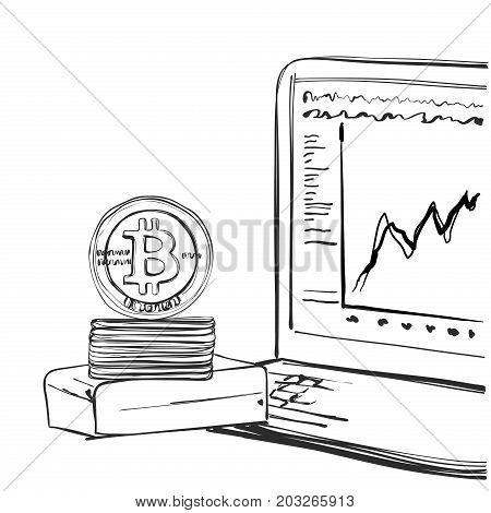 Bitcoin Hand drawn sketch. Cryptography. Vector illustration