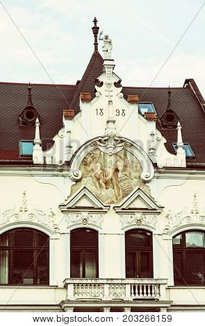 The Beggar's house in Kosice Slovak republic. Architectural scene. Retro photo filter.