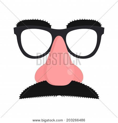 Disguise mask. Mask with glasses fake nose and mustache.Vector modern flat style cartoon character illustration. Isolated on white background.