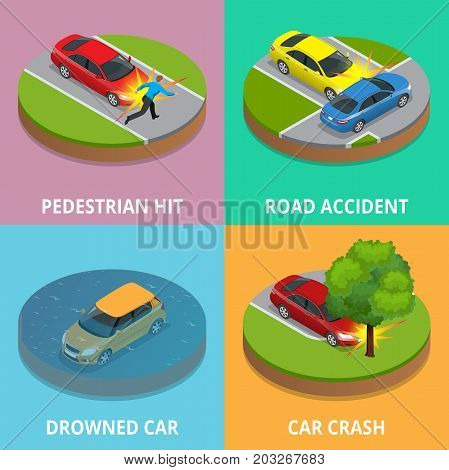 Isometric pedestrian hit, road accident, drowned car and car crash concept. Car crash template vector flat style. Used for workflow layout, game, diagram, number options, web design and infographics.