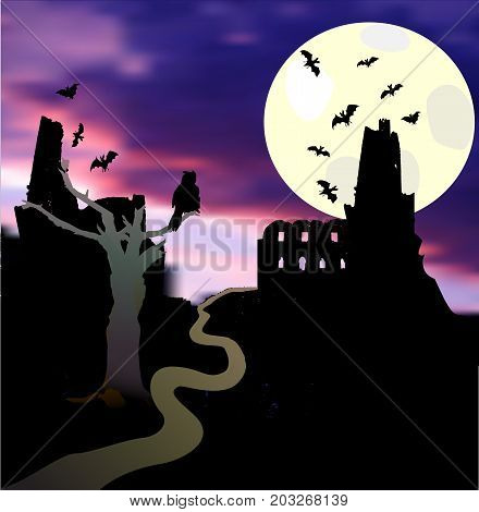 Halloween landscape with moonlight castle bats tree owl and sunset. Dark scary castle with tower flying bats and road