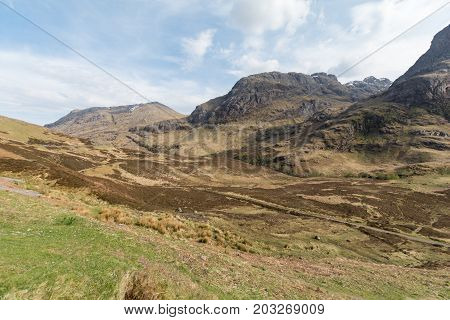 Panoramic View Of Three Sisters In Glencoe, Scotland