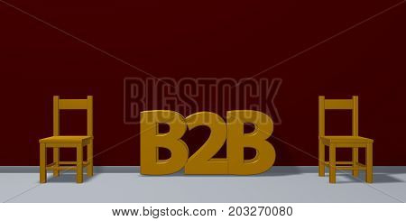 b2b tag and two chairs - 3d rendering