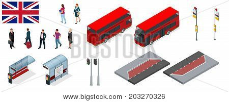 Isometric set of London double decker Red bus and bus stop. United Kingdom vehicle icon set. 3D flat vector illustration. The traditional red Routemaster has become a famous feature of London.