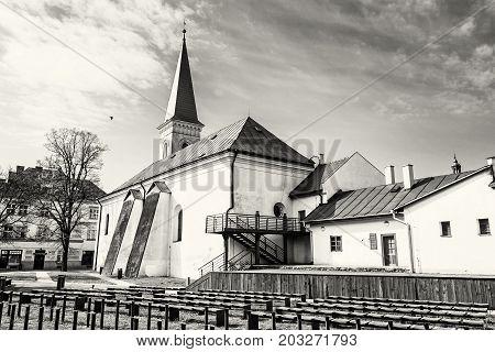 Calvinist church in Kosice Slovak republic. Religious architecture. Travel destination. Black and white photo.