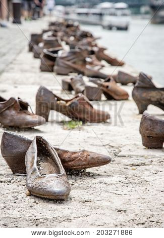 Shoes monument on the Danube bank is a memorial in Budapest Hungary. Place of reverence. Symbolic object.