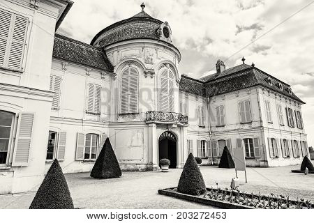 Beautiful Schloss Niederweiden in Austria. Architectural scene. Travel destination. Detail photo. Black and white photo.