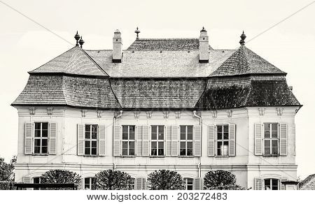 Beautiful Schloss Niederweiden in Austria. Architectural scene. Black and white photo. Travel destination.