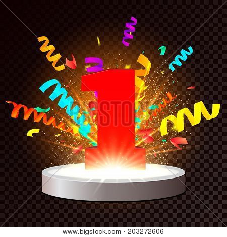 Red number One on Illuminated stage. Vector Podium on transparent background with colorful confetti explosion and light effects and particles. First place award. 1st year anniversary celebration