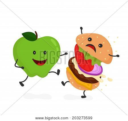 Happy smile strong apple  kick burger, hamburger. Vector modern flat style cartoon character illustration icon design.Isolated on white background. Healthy food against unhealthy fast food.Nutrition