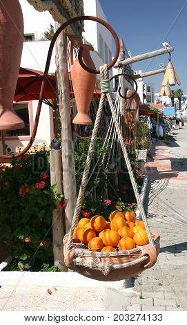 Ripe apelstones in a ceramic vase hanging on a rope. Tunisia