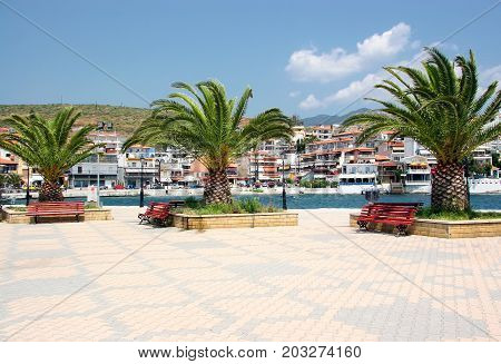 Quay in the resort town of Neos Marmaras on the peninsula of Sithonia. Halkidiki. Greece