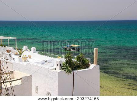 Roof of the house overlooking the sea in Monastir. Tunisia