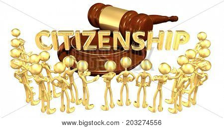 Citizenship Law Concept With The Original 3D Characters Illustration