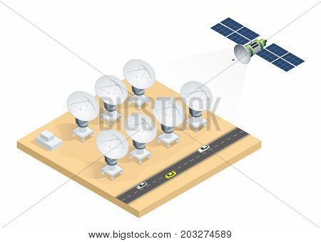 Isometric group of radio telescopes, satellite dish antennas transmission data broadcasting vector illustration isolated on white background.