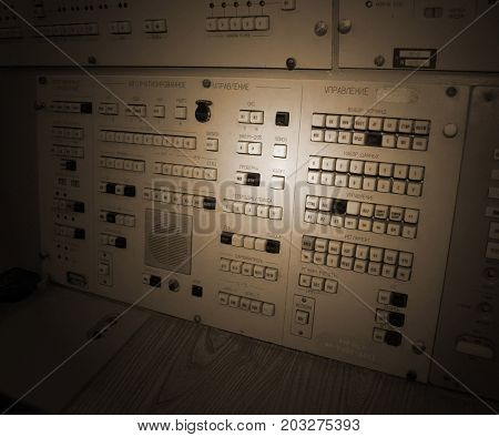 Control console of launch.Bunker for launch SS-18 Satan team.Museum of Soviet Strategic Nuclear Forces..POBUGSKOE, UKRAINE - September 2, 2017