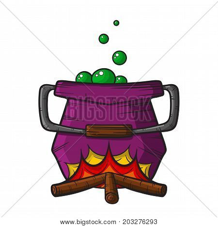 halloween witch cauldron with potion isolated on white background