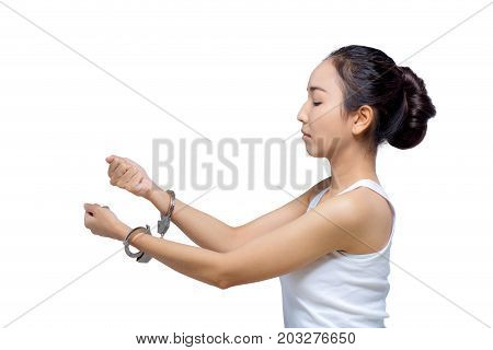 Beautiful Asian Woman With Pure Face And Her Hand In Shackle,she Can Not Make Up With A Copy Space,