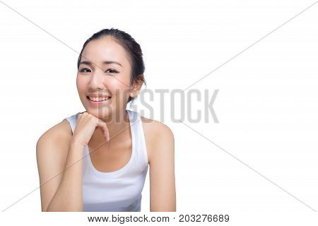 Portrait of smile woman with hands on chin. beauty concept