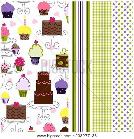 Cupcake pattern with coordinating stripe, gingham and polka dots. Seamless patterns for digital paper, scrapbooking, cards, invitations, announcements, gift wrap, backgrounds, borders, and more.