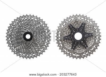 Mountain bike 10 speed cassette isolated on white