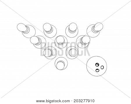 Bowling pins and bowling ball. Isolated on white background. Sketch illustration.Top view.