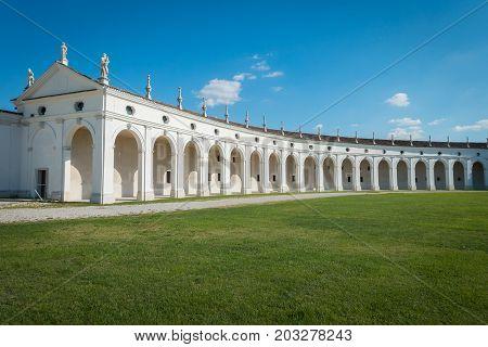 Side arcade of Villa Manin palace near Udine Friuli Italy
