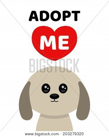 Vector flat cartoon illustration icon design.Adopt me. Dont buy. Dog Pet adoption. Puppy pooch looking up to red heart.Help homeless animal concept. Isolated on white background