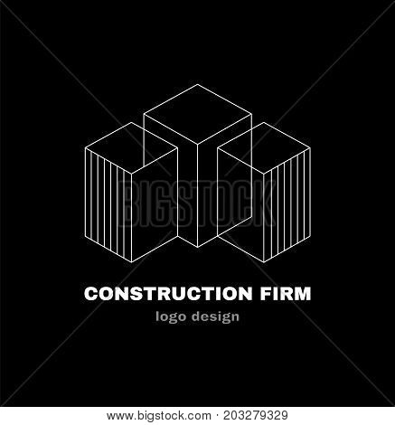 Abstract construction firm geometric logo template design. Vector modern style illustration line icon design. Construction building firm company logo concept
