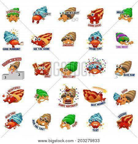 A vector illustration of Hermit Crab Emoji Emoticon Expression
