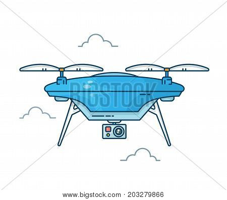 Drone with action camera.Vector modern line outline flat style cartoon illustration icon. Isolated on white background. Remote aerial drone with a camera taking photography or video recording concept