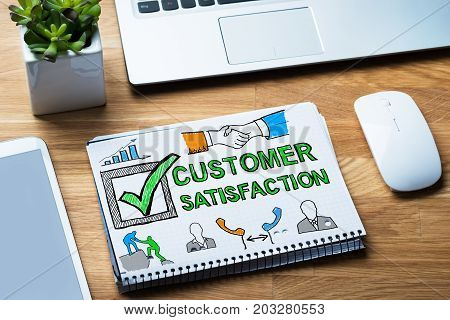 Customer Satisfaction Survey Concept In Notepad At Desk